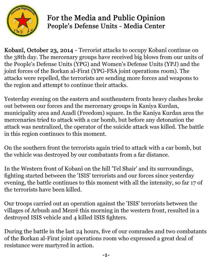 YPG-Comunicado del 23 Octubre