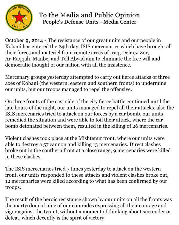 YPG statement