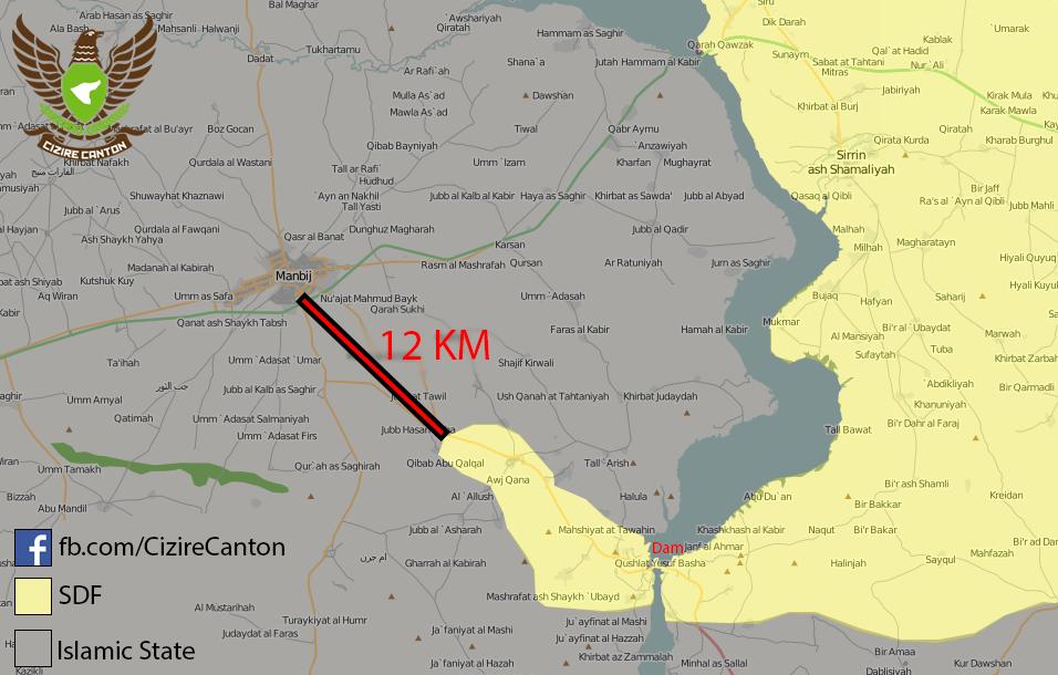 Mapa de la zona de Tishreen a 29 de Diciembre